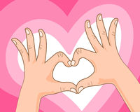 Hand making heart sign. Gestures vector illustration Stock Photo