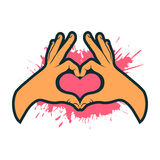 Hand making heart sign. Heart shape hand. Valentines card. Vector illustration Stock Photo