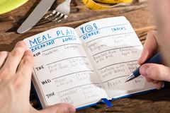 Elevated View Of Human Hand Making Meal Plan On Notebook royalty free stock image