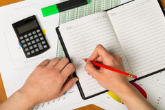 Hand making notes in a notebook Royalty Free Stock Photography