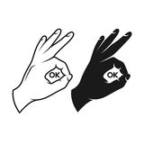 Hand making okay sign. Black and white variants. Vector vintage illustration. Ok text inside the sign stock illustration