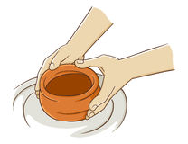 Hand Making Pottery From Clay. Vector illustration Royalty Free Stock Photos