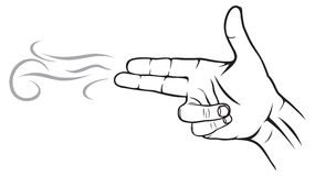 A hand making a shape. Vector illustration of A hand making a shape of a pointed hand gun Stock Images