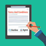 Hand making sign - terms and conditions Royalty Free Stock Images