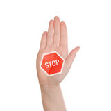 Hand making Stop sign on white background Stock Image