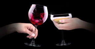 Hand making toast with alcohol Stock Images