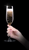 Hand making toast with champagne glass Stock Image