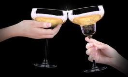 Hand making toast with champagne glass Royalty Free Stock Photos
