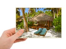 Hand and Maldives beach image my photo Royalty Free Stock Photos