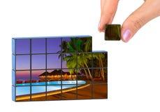 Hand and Maldives puzzle (my photo) Royalty Free Stock Photo