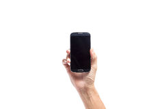 Hand male asia holding  Smartphone,black  blank screen isolated Stock Photos