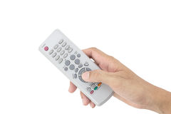 Hand male asia holding tv remote control isolated on white back Royalty Free Stock Photo