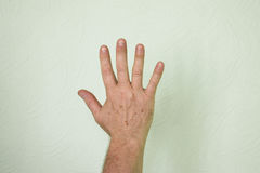 Hand male greeting sign. Photo Royalty Free Stock Image