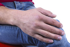 Hand male knee Royalty Free Stock Image