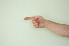 The hand of the male symbol to indicate. The direction forward. Photo for your design royalty free stock image