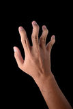 Hand of male trigger all finger  on black Stock Image
