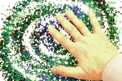 Hand of a man above chemistry Stock Photo