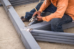 Hand man arc welding or stick welding iron Royalty Free Stock Photo