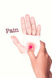 Hand of a man with bloody gauze on it, pain sign Stock Photography