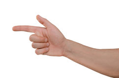 Hand of man finger shows on target. Hand of man isolated on white background, finger shows on target Stock Images