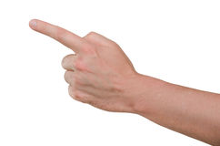 Hand of man finger shows on target. Hand of man  on white background, finger shows on target Royalty Free Stock Image
