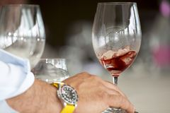 Hand of a man with a glass of vermouth royalty free stock photo