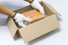 Hand man hold bubble wrap, for Packing and protection product cracked Stock Photos