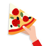 Man`s Hand Holding a Slice of Pizza Stock Images