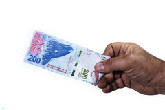 Hand of man holding a bill of two hundred Argentinean pesos in w Royalty Free Stock Image