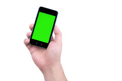 Hand of man holding mobile smart phone with chroma key green screen on white background Royalty Free Stock Photos