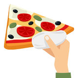 Man`s Hand Offering a Slice of Pizza. The hand of a man holding or offering a big slice of pizza, isolated on white background. Eps file available royalty free illustration