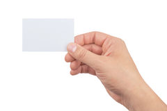 Hand of man holding paper card isolated on white background Stock Image