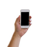 Hand of man holding a smartphone isolated on white background. Stock Photography