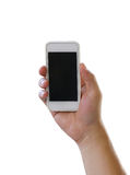 Hand of man holding a smartphone isolated on white background. Royalty Free Stock Photo