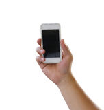 Hand of man holding a smartphone isolated on white background. Stock Photos