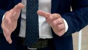 Hand man during the interview stock footage