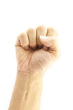 Hand of man make signal fist. Hand of man make signal by fist, mean power and confidence Stock Photos