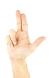 Hand of man make signal by gun isolated. On white background Stock Images