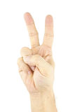 Hand of man make signal by victory isolated. On white background Stock Photography
