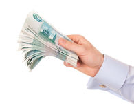 Hand of man with money. Royalty Free Stock Photos