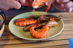 Hand of man peeled shrimps. On the plate Stock Photo