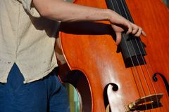 Hand of a man playing contra-bass Royalty Free Stock Photography