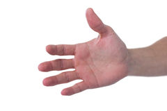 Hand of man pretending to hold an invisible object. Against white background Royalty Free Stock Image