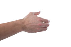 Hand of man pretending to hold an invisible object. Against white background Stock Photo