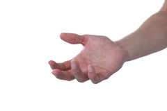 Hand of man pretending to hold an invisible object. Against white background Stock Images