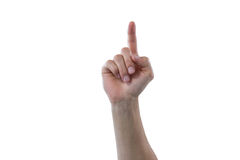 Hand of man pretending to touch an invisible screen. Against white background Royalty Free Stock Photo