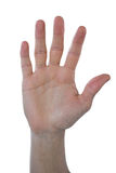 Hand of man pretending to touch an invisible screen. Against white background Stock Photography