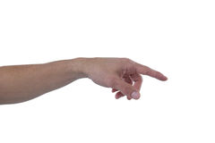 Hand of man pretending to touch an invisible screen. Against white background Stock Image