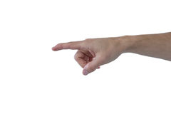 Hand of man pretending to touch an invisible screen. Against white background Royalty Free Stock Photos