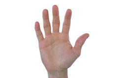 Hand of man pretending to touch an invisible screen. Against white background Stock Images
